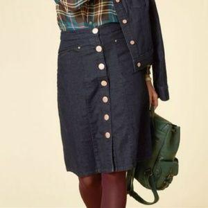MODCLOTH Dark Denim Rose Gold Button Knee Skirt